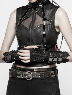 Black Gothic Punk Metal Gloves for Women
