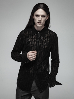 Black Gothic Lace Flocking Shirt for Men