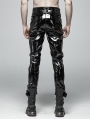 Black Gothic Punk Glossy Latex Trousers for Men