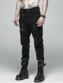 Black Gothic Punk Broken Hole Net Trousers for Men