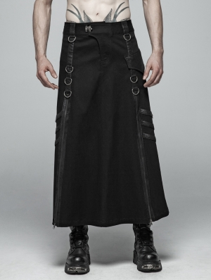 Black Gothic Punk Long Half Skirt for Men