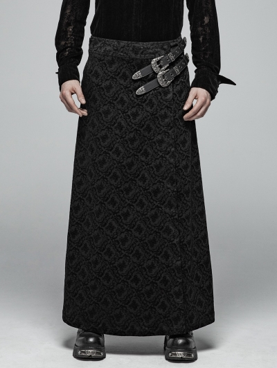 Black Vintage Pattern Gothic Personality Long Skirt for Men