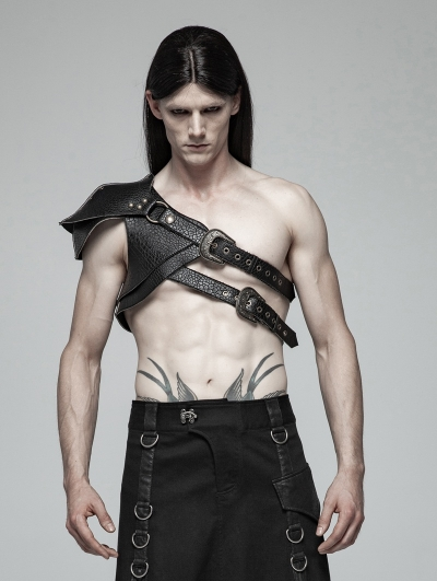 Black Steampunk Shoulder Armor Accessory for Men