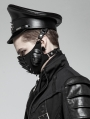 Black Gothic Punk Personality PU Hat for Men