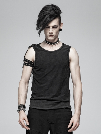 Black Men's Gothic Punk Tank Top with Detachable Shoulder Accessory