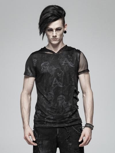 Black Gothic Punk Print Short Sleeve Hooded T-Shirt for Men