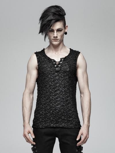 Black Gothic Punk Tank Top for Men