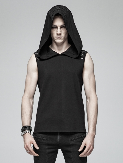 Black Gothic Punk Sleeveless Hooded Tank Top for Men