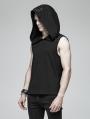 Black Gothic Punk Sleeveless Hooded Tank Top for Men