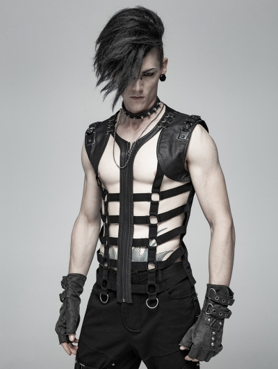 Black Gothic Punk Personality Skeleton Vest Top for Men