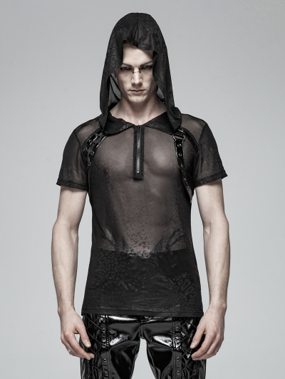 Black Gothic Punk Perspective Short Sleeve Hooded T-Shirt for Men