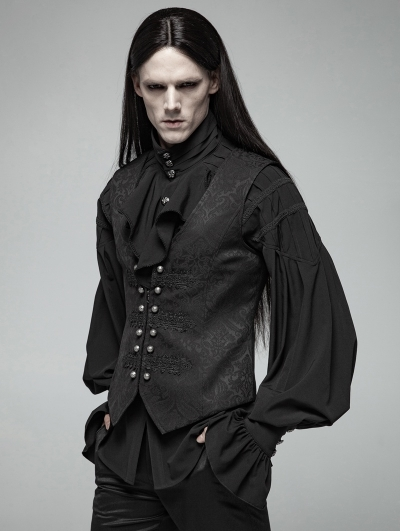 Black Gorgeous Vinatge Gothic Jacquard Vest for Men
