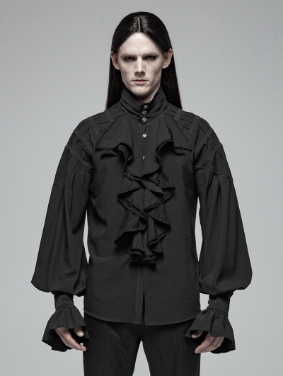 Black Gothic Victorian Loose Long Sleeve Shirt for Men