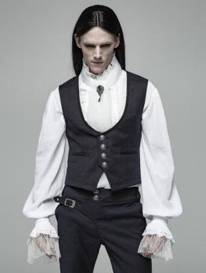 Blue Vintage Gothic Gentleman Simple Vest for Men