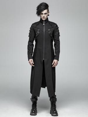 Black Gothic Punk Armor Long Jacket for Men