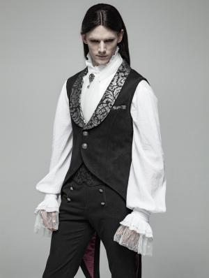 Black Gothic Swallow Tail Vest for Men