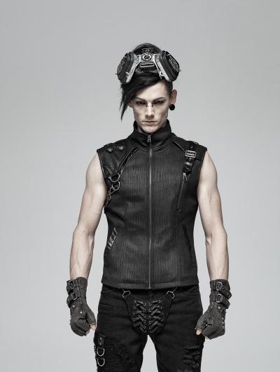 Black Gothic Handsome Punk Vest Top for Men