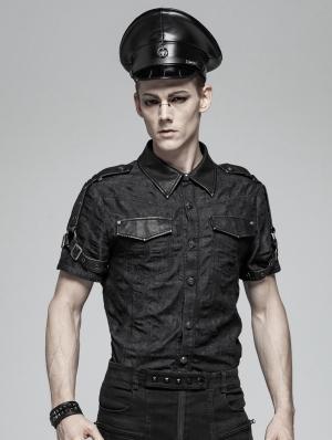 Black Gothic Punk Short Sleeve Do Old Shirt for Men