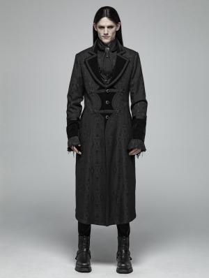 Black Gothic Vampire Master Long Coat for Men