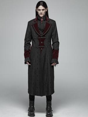 Black and Red Gothic Vampire Master Long Coat for Men