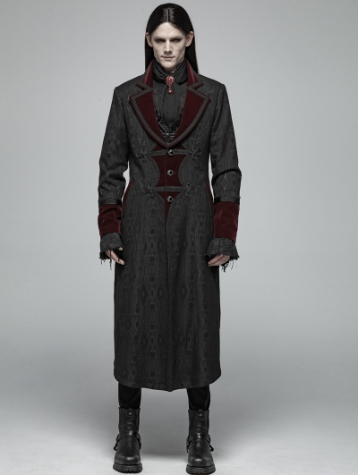 Black and Red Gothic Vampire Master Long Coat for Men