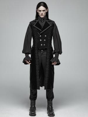 Black Gothic Victorian Gorgeous Long Vest for Men
