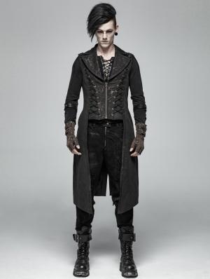 Black Vintage Gothic Victorian Long Vest for Men