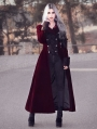 Wine Red Double Breasted Gothic Long Coat for Women