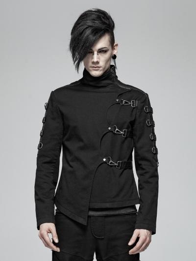Black Gothic Punk Asymmetric Short Jacket for Men