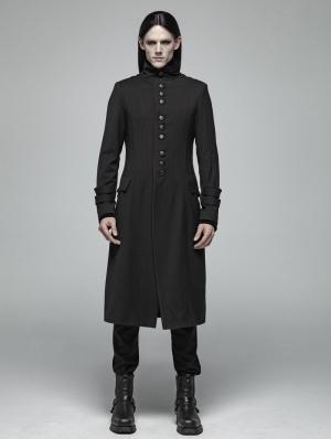 Black Simple Gothic Long Jacket for Men