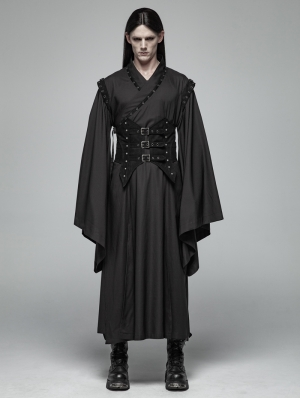 Black Gothic Dark Punk Han Elements Coat for Men