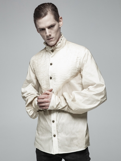 Ivory Vintage Gothic Daily Wear Shirt for Men