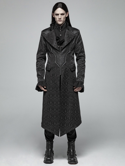 Black Vintage Gothic Jacquard Long Coat for Men
