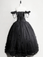 Romantic Black Gothic Flower Off-the-Shoulder Corset Prom Ball Gown Long Dress