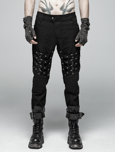 Black Gothic Punk Heavy Metal Trousers for Men