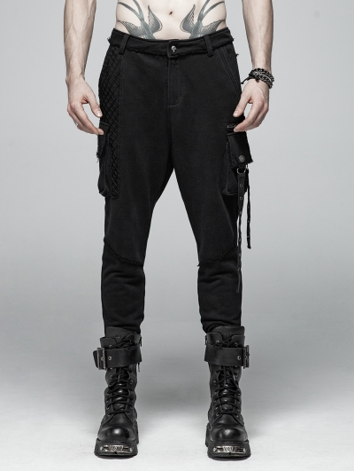 Black Gothic Punk Dark Knit Trousers for Women