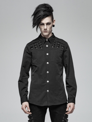 Black Gothic Punk Rivet Long Sleeve Shirt for Men