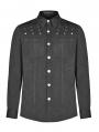 Black Gothic Punk Rivet Long Sleeve Shirt for Men