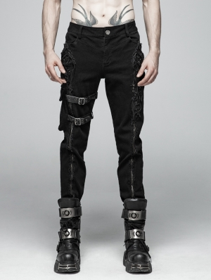 Black Gothic Punk Heavy Metal Zipper Belt Trousers for Men