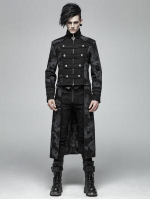 Gothic Punk Dragon Totem Detachable Coat for Men