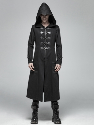 Black Gothic Punk Heavy Metal Long Jacket for Men
