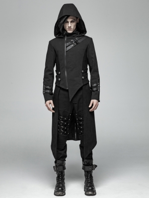 Black Gothic Punk Split Hooded Asymmetric Jacket for Men