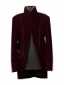 Wine Red Long Sleeves Mens Gothic Coat