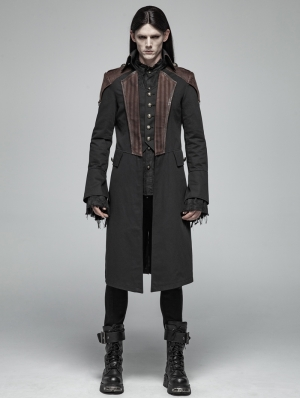 Black Steampunk Fake Two Pieces Coat for Men