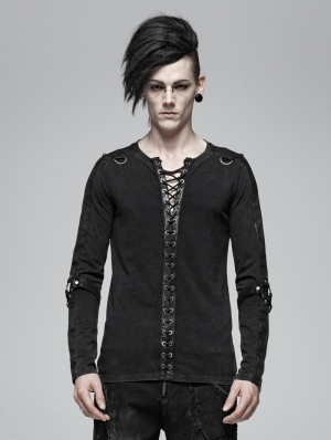 Black Gothic Punk Rope Belt Long Sleeve Shirt for Men