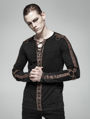 Brown Steampunk Long Sleeve Shirt for Men
