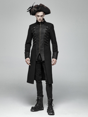 Black Gothic Rivet Zipper Mid-length Coat for Men