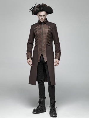 Brown Steampunk Rivet Zipper Mid-length Coat for Men