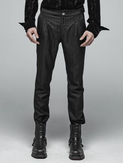 Black Daily Wear Gothic Trousers for Men