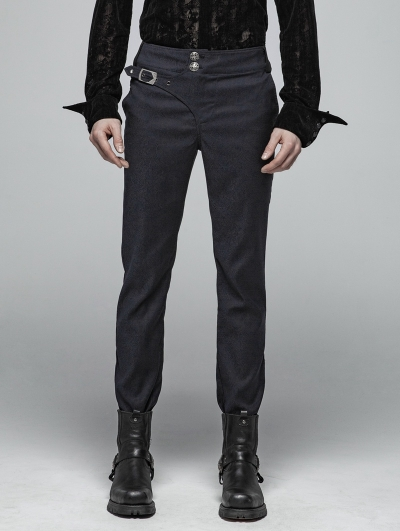 Blue Gothic Gentleman Simple Trousers for Men